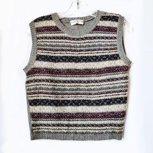 Vintage Gray Stripe Wool Sweater Vest Crewneck